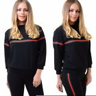 Womens Ladies Red Green Horizontal Striped Long Sleeve Sweatshirt Jumper Top