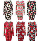 Womens Ladies Novelty Santa Xmas Christmas Long Sleeve Midi Bodycon Party Dress