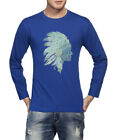 Clifton Men's Printed Full Sleeve R-Neck T-Shirt-Sapphier Blue-Tribe-1