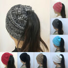 Women Beanietail Messy High Bun Ponytail Stretchy Knit Beanie Skull Warm Hat X