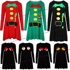 WOMENS LADIES NOVELTY ELF SANTA CHRISTMAS XMAS SWING FLARED SKATER DRESS TOP