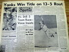 9 1961 newspaper sports pages NY Yankees defeat CINCNNATI REDS in WORLD SERIES