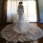 2 Layer White /Ivory Wedding Veil Cathedral Length Lace Applique Tulle Free Comb