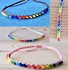 BEADED ANKLET ADJUSTABLE BRACELET CORD WOOD BEADS Women Boho Girl Surf Hippy