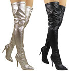 Womens Boots Over The Knee Thigh High Glitter Party Stiletto High Heel Shoe Size