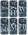 PERSONALISED BLUE MARBLE WHTE INITIALS CUSTOM PHONE CASE FITS SAMSUNG GALAXY S