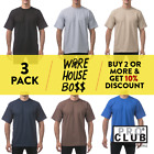 3 PACK PROCLUB PRO CLUB MENS PLAIN SHORT SLEEVE T SHIRT HEAVYWEIGHT COTTON TEE image