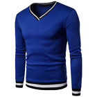 US Fashion Men's Slim Fit V Neck Long Sleeve Muscle Knitted Sweater Casual Tops