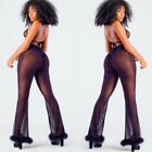 Fashion Women's Sheer High Waist Casual Pants Wide Leg Long Trousers Leggings C