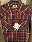 Ely Cattleman Western Shirt Long Sleeve RED Plaid NICE!