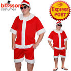 CSW52 Summer Santa Costume Aussie Australian Xmas Christmas Men Shirt Shorts Hat