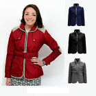 CLEARANCE NEW LADIES BELTED QUILTED WOMENS PADDED ZIP CONTRAST JACKET COAT