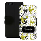 PERSONALIZED WALLET CASE FOR iPHONE X 8 7 6 5 PLUS GREEN BLACK BUTTERFLY