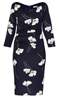 Gina Bacconi Navy Print Dress With Sleeves 8073