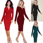 Womens Elegant Zip Up Pleated Ruched Peplum Work Business Party Sheath Dress