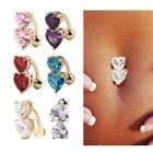 Belly Bars Navel Crystal Double Heart Barbells Button Ring Body Piercing Jewelry