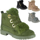 Womens Ladies Ankle Boots Lace Up Fur Lining High Top Low Heel Shoes Size