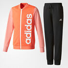 adidas Linear Girls Youth Full Zip Tracksuit Set Jacket Coral/Black