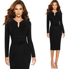 Womens Elegant Pleated Notch Neck Ruched Work Office Cocktail Party Sheath Dress