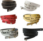 2 x Leather Wrist Band, WRAP-AROUND BRACELET ENGRAVED, incl. Engraving