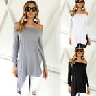 Fashion Womens Sexy Off Shoulder Irregular Hem T-Shirts Casual Tops Solid Blouse