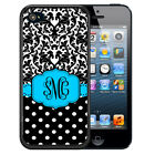 MONOGRAMMED RUBBER CASE FOR iPHONE X 8 7 6S SE 5C 5S PLUS BLUE DAMASK POLKA DOTS