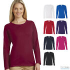 Gildan Women's Heavy Cotton Long Sleeve Tee Plain Crew Neck