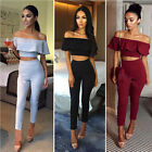 US Women Crop Top Blouse + Pants Two-piece Playsuit Bodysuit Jumpsuit Romper Set