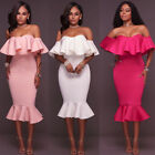 USA Women Bandage Bodycon Ruffle Sleeve Evening Party Cocktail Pencil Mini Dress