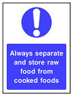 Separate raw & cooked food HSE Health Safety FOO80 30cm x 40cm Sign or Sticker
