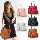 4pcs/set Women Girl PU Leather Handbag Shoulder Bag Tote Purse Satchel Clutch