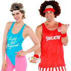 Fitness Adults Fancy Dress 1980s 80s Retro Sports Neon Mens Womens Costumes New