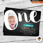 10 Personalised Photo Boys Chalkboard 1st First Birthday Party Invitations