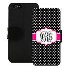 MONOGRAMMED WALLET CASE FOR iPHONE X 8 7 6 5 PLUS BLACK POLKA DOTS HOT PINK