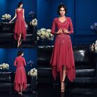 mother of the bride dresses with sleeves - Red Mother Of the Bride Dresses With Long Sleeve Jacket Ankle Length Applique