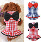 Female Dog Puppy Big Bow Hooded Plaid Dress Short Sleeve Pet Clothes Flowery