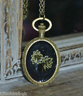 Real Queen Anne's Lace set in black resin oval bronze setting Flower Jewellery