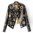 Abstract RIng Jacket for Women High Quality Hollow Out Pu Leather