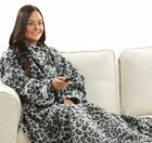 Gray Leopard Fleece Blanket with Sleeves Snuggy Snuggie Warm Christmas Gift