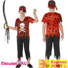 Boys Jolly Roger Pirate Costume Caribbean Buccaneer Kids Book Week Outfit Child