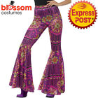 CA499 Pink Flare Pants Trousers 60s 70s Retro Hippy Hippie Groovy Disco Costume