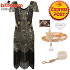 K467 Gold Deluxe Ladies 1920s Roaring Flapper Costume Sequins Gatsby Fancy Dress