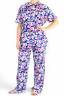 Pyjamas Ladies Summer PJs Short Sleeve 2pc set Blue Floral 0580 Sz 8 10 12 14 16