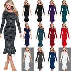 Women Elegant Vintage Pinup Wear To Work Casual Party Slim Bodycon Mermaid Dress