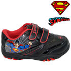 NEW BOYS INFANT SUPERMAN BLACK SCHOOL BOOTS TRAINERS VELCRO KIDS SHOES SIZE