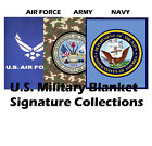 US Military Emblem Logo Plush Blanket Queen Size - Navy/Air Force