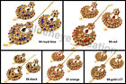 Golden Cz Kundan Pearl Bollywood Chandbali 3pcs Earring-Tikka Set Christmas Gift