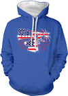 Happy 4th Fourth Of July American Flag Fireworks USA Two Tone Hoodie Sweatshirt