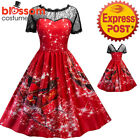 K472 Red Santa Christmas Vintage Swing Flare Dress Up Snowflake Xmas Rockabilly