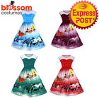 K475 Santa Christmas Vintage Swing Flare 50s Dress Up Snowflake Xmas Rockabilly